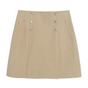 Sandro Khaki Tan Parisa Linen Button Skirt 8